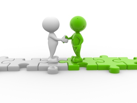 business confidence: 3d people - men, person shaking hands on puzzle pieces. The concept of business partners