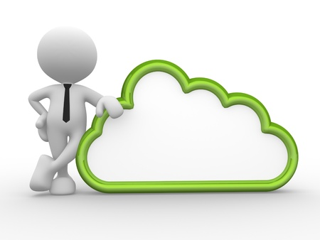 lucky man: 3d people - man, person standing near to a cloud.  Stock Photo