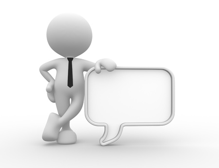 dialog: 3d people - man, person with a blank speech bubble. Communication concept  Stock Photo