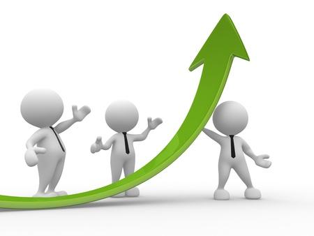 büyüme: 3d insanlar - erkek, kişi ve bir grafik ok. İş ortakları.
