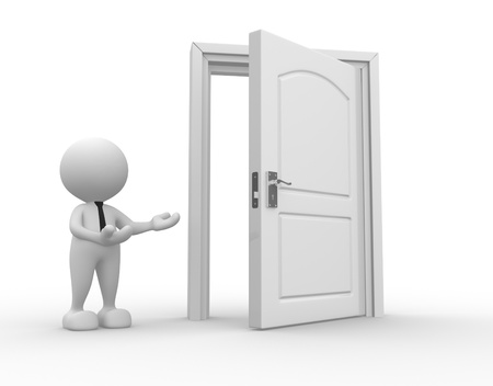 3d people - man, person and a open door. Businessman Stock Photo - 15428893