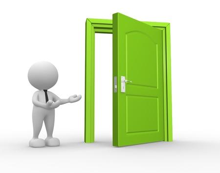 puerta abierta: 3d gente - hombre, persona y una puerta abierta. Hombre de negocios Foto de archivo