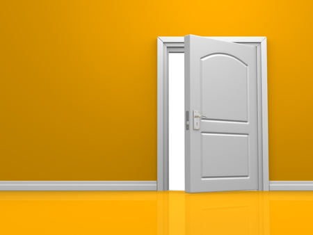 3d open door in the orange wall. 3d render Stock Photo - 15428899