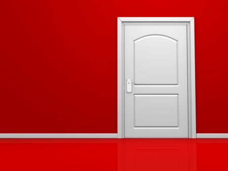 3d door in the red wall. 3d render Stock Photo - 15428892