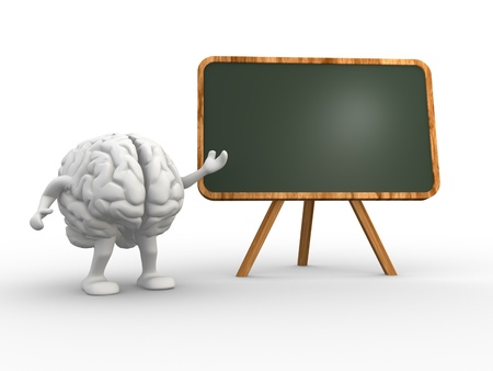 cerebra: 3d brain and a backboard. Concept of intelligence. 3d render Stock Photo