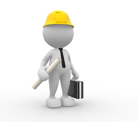3d people - man, person with a project. Engineer photo