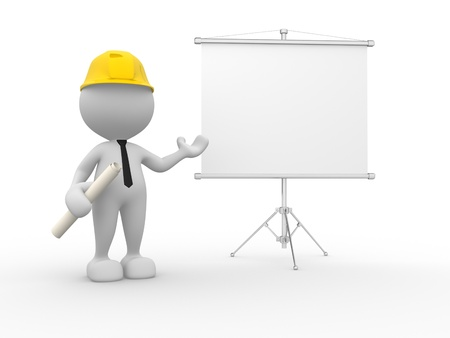 3d people - man, person presenting at a flip-chart. Businessman. Builder