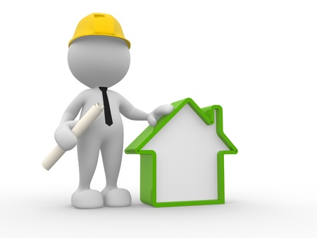 hat project: 3d people - man, person with a house. Builder Stock Photo
