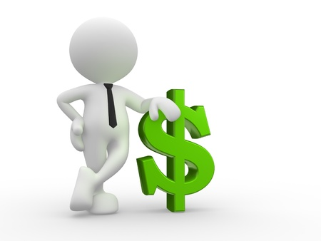 cost savings: 3d people - man, person with dollar symbol Stock Photo