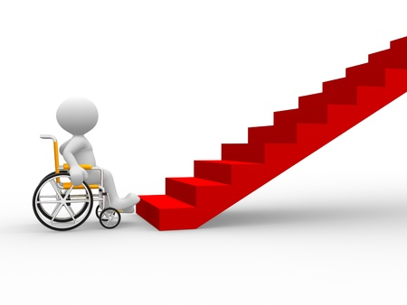 3d people - man, person in a wheelchair in front of stairs. photo