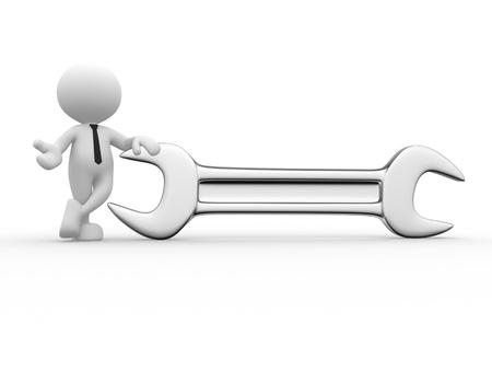 solucion de problemas: 3d gente - hombre, persona con una llave.
