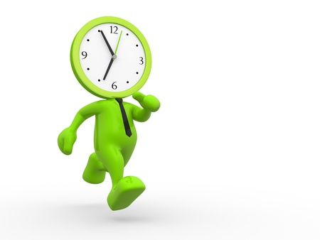 working hour: 3d people - man, person running out of time. A clock