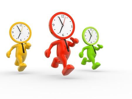 3d personnes - hommes, personne à court de temps. Une horloge