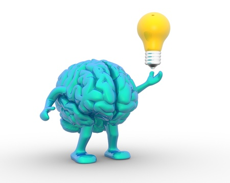3d brain and a light bulb. 3d render illustration illustration