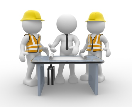home safety: 3d people - men, person and a office with working draft. Engineer and businessman. Teamwork