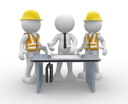 industriale: 3d persone - uomini, persone e un ufficio con la bozza di lavoro. Ingegnere e uomo d'affari. Lavoro di squadra