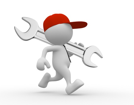 3d people: 3d people - man, person with a wrench. Businessman and builder  Stock Photo
