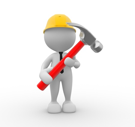 3d people - man, person with a hammer. Businessman and builder  photo