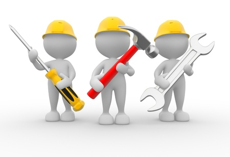 plumbers: 3d people - men, person with the tools in the hands. Wrench, hammer and screwdriver