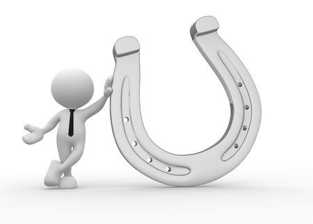 3d people - men, person with a horseshoe Stock Photo - 15961602