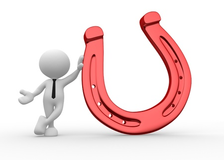 3d people - men, person with a horseshoe Stock Photo - 15961607