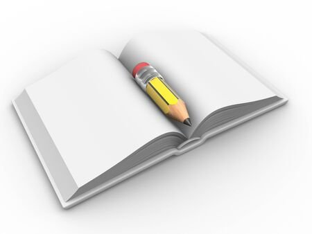 scrutiny: Open book and a pencil. 3d render illustration
