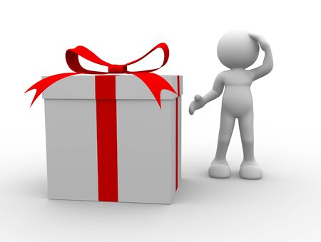 handclasp: 3d people - man, person with a gift box Stock Photo