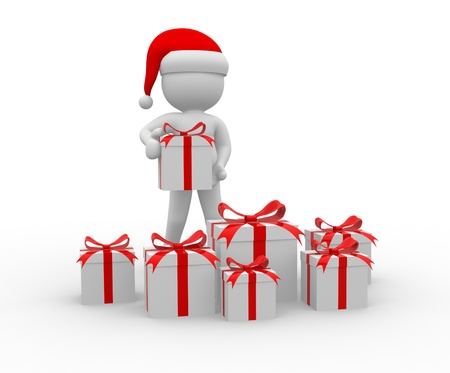 3d people - man, person with a gift boxes. Santa Claus Stock Photo - 16262335