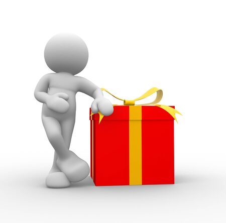 3d people - man, person with a gift box. Stock Photo - 16262333