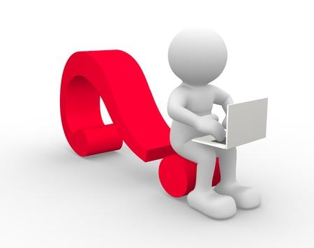 3d personnes - homme, personne avec une marque ordinateur portable et une question