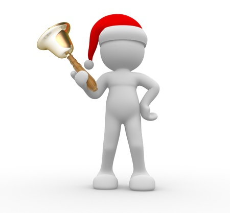 3d people - man, person with a bell. Santa Claus Stock Photo - 16262332