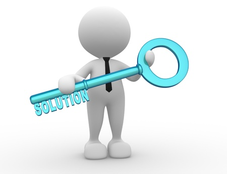 3d people - man, person holding key with word  solution   photo