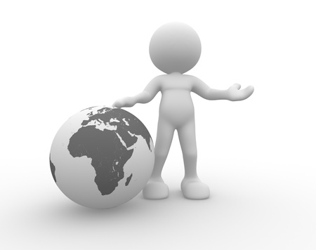 3d people - man, person and earth globe   photo