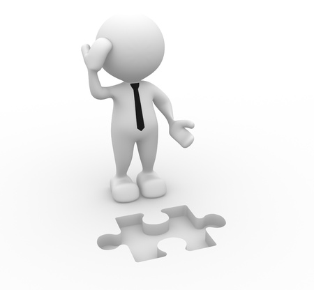 3d people -  man, person and  pieces of puzzle as a hole  Businessman Stock Photo - 16389682