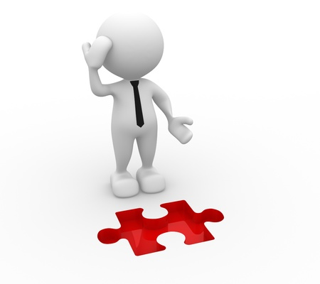 3d people -  man, person and  pieces of puzzle as a hole  Businessman Stock Photo - 16389686