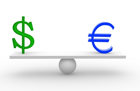 3d euro and dollar on scale board. 3d render  photo