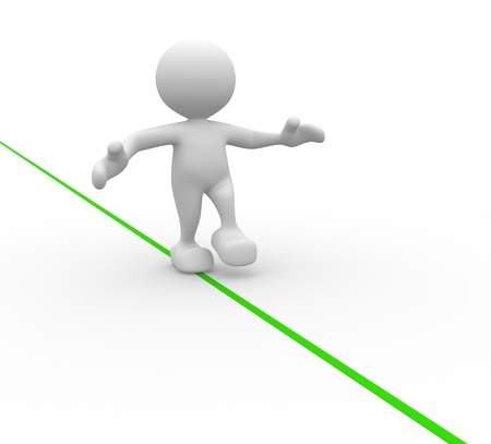 imbalance: 3d people - men, person walking on the wire. Aerobatics