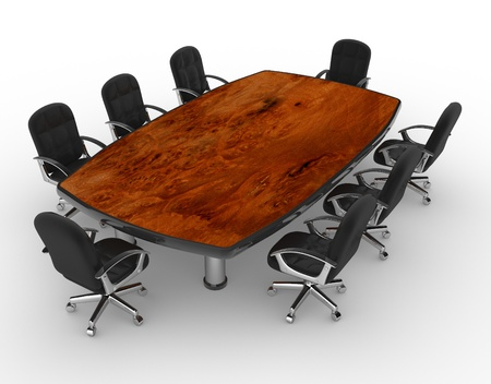 3d conference table and chairs. Office. 3d render  photo