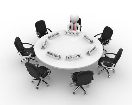 manager: 3d Menschen - M�nner, Person, Konferenztisch. Meeting Lizenzfreie Bilder