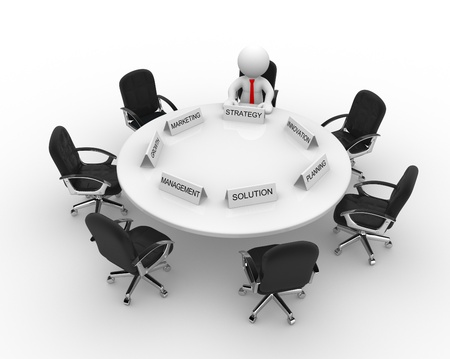 stockholder: 3d people - men, person to conference table. Meeting Stock Photo