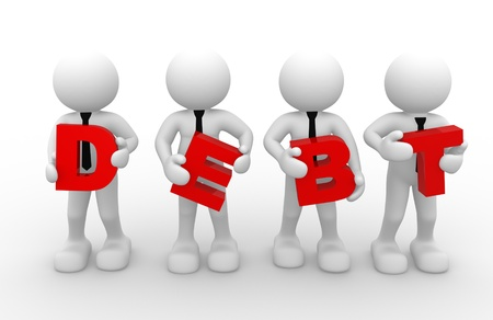over the shoulder: 3d people - man, person with a word debt.  Debt concept.