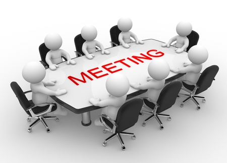 3d mensen - mannen, persoon aan vergadertafel Business meeting