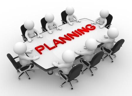 3d mensen - mannen, persoon aan vergadertafel Business meeting en planning Stockfoto