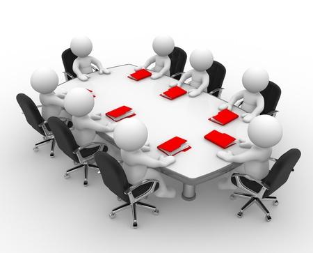asamblea: 3d personas - hombres, persona en la mesa de conferencia y una reuni�n de negocios carpetas