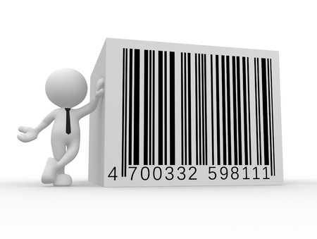 3d people - man, person with a bar code   barcode   photo