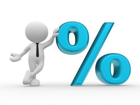 reduction: 3d people - man, person with sign percent     The discount offer Stock Photo