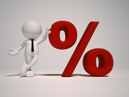 liquidation: 3d people - man, person with sign percent     The discount offer Stock Photo