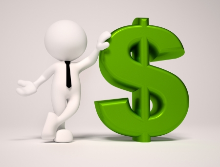 3d people - man , person with dollar sign Stock Photo - 16850511
