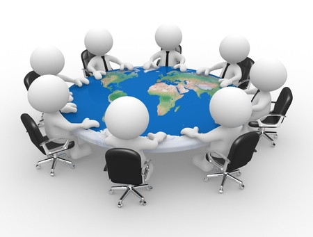 3d people - men , person at a conference table with world map  Peace photo