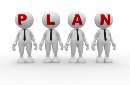 demonstrate: 3d people - men person  with word  plan   Plan concept  Stock Photo